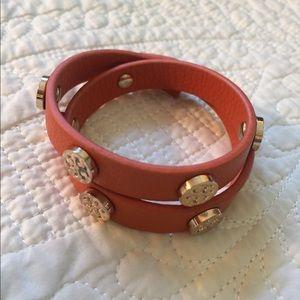 Tory Burch bracelet-double wrap stud Reva Goldlogo